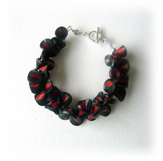 Black & Red Petal Polymer Clay Bracelet