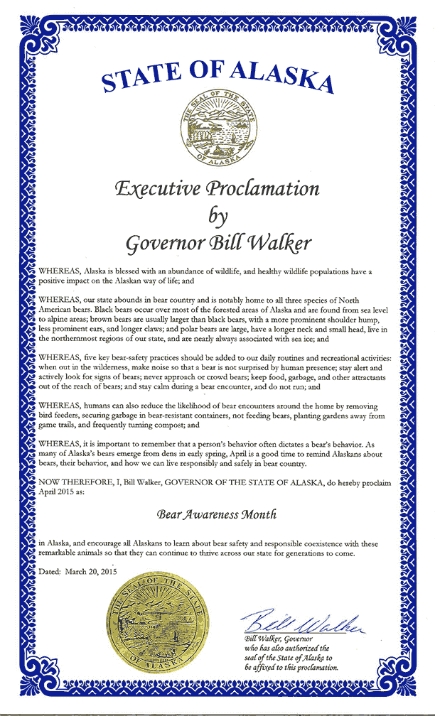 Copy of the Bear awareness month proclamation signed by Alaska Governor Bill Walker