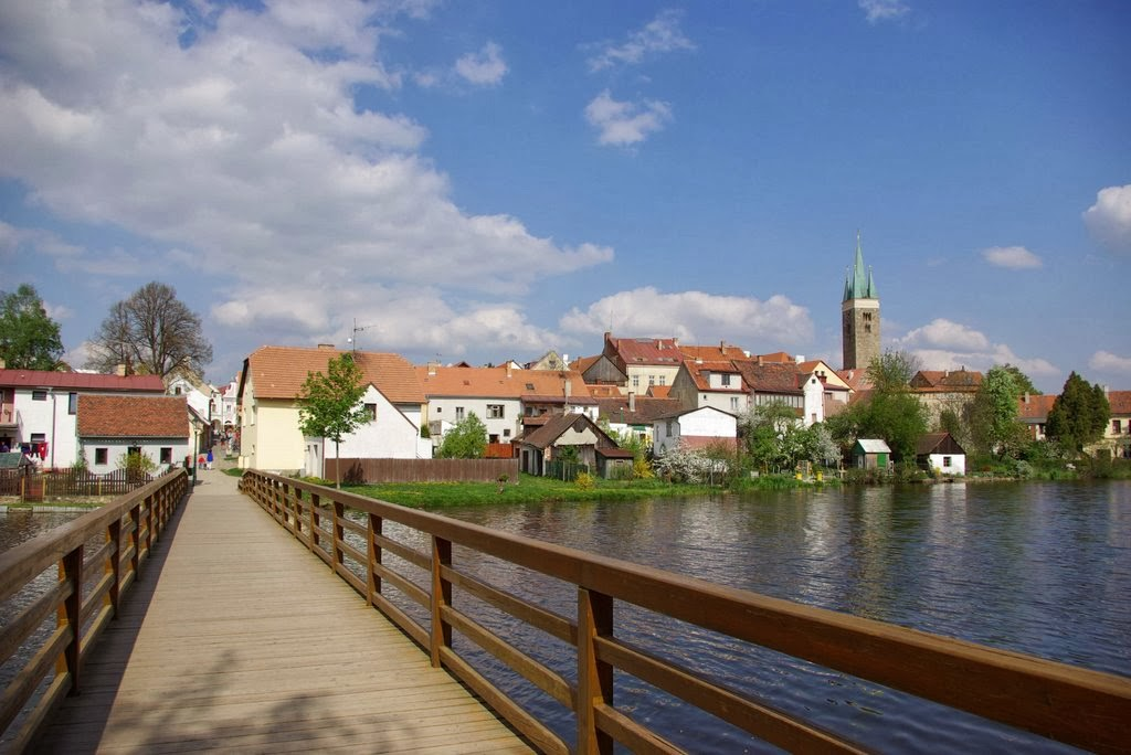 Wooden bridge in Telc, Czech Republic