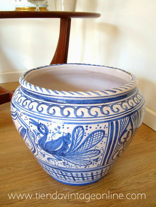 Comprar tiesto cerámico artesanal vintage pintado a mano. maceteros decorativos