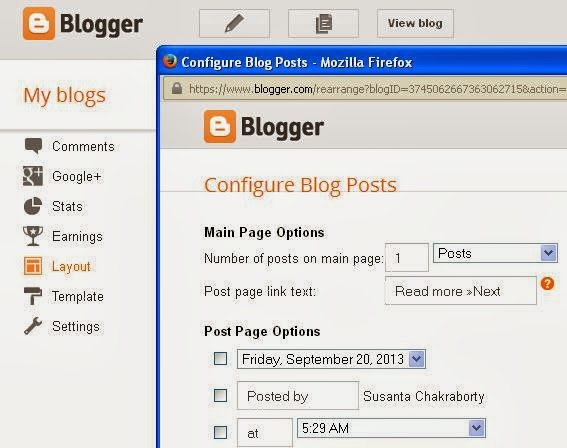 Blogger: How to setup a static home page finishing step