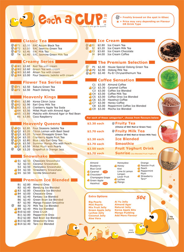 E Timecapsule Menu And Prices Of Each A Cup
