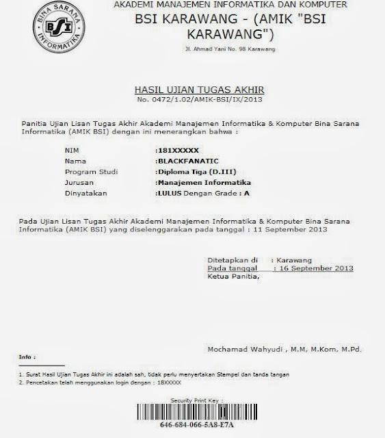 Hasil Tugas Akhir BSI sebagai surat keterangan LULUS