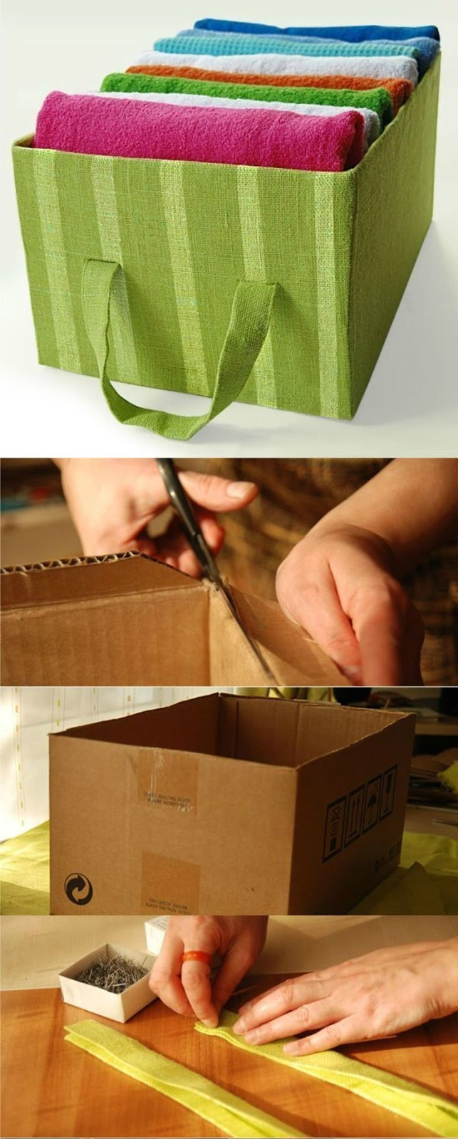 caixa organizadora feita com caixa de papelão.