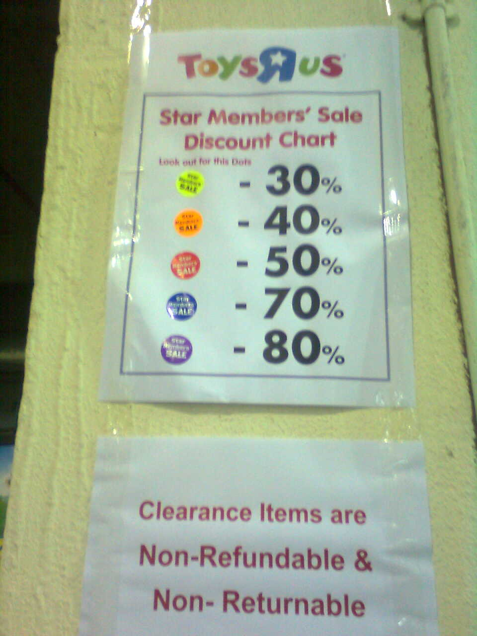 however not all toy items have these colour coded member discount stickers meaning to say this clearance sale is also opened to non members