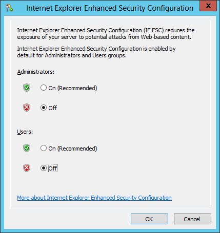 Nicholas bisciottis blog issue windows server 2012 javascript change the internet explorer enhanced security configuration settings to off as needed click ok and close server manager ccuart Gallery