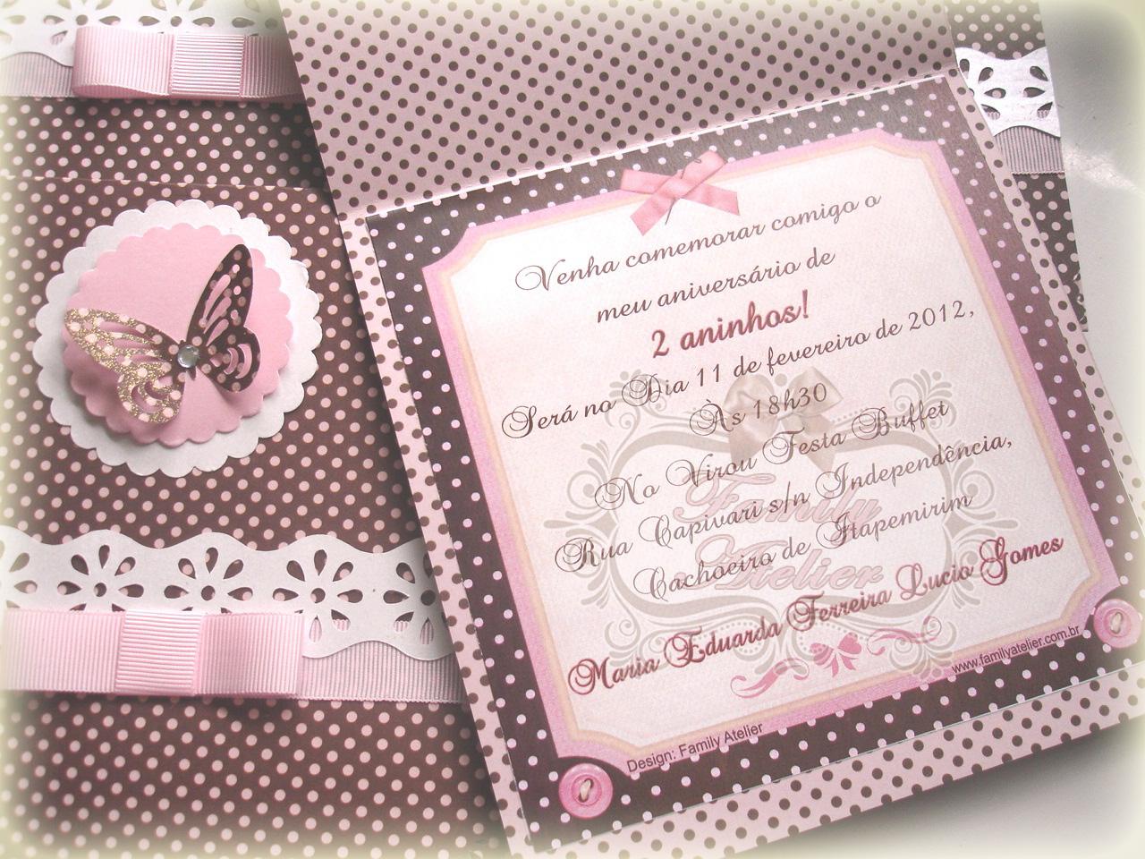 Family Atelier Convite Borboleta Rosa E Marrom
