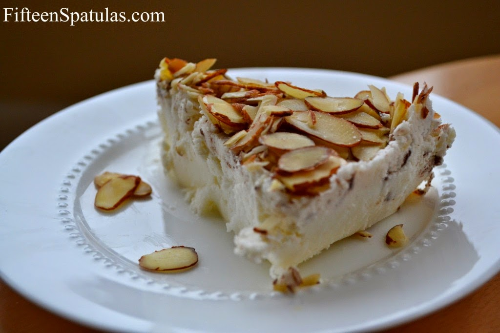 Almond Topped Tortoni with Chocolate Shavings