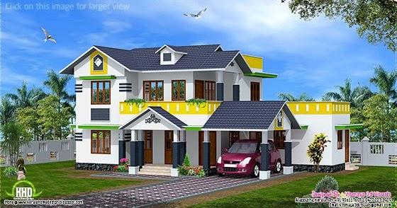 1900 kerala model sloping roof house kerala home for Kerala model house plans 1500 sq ft