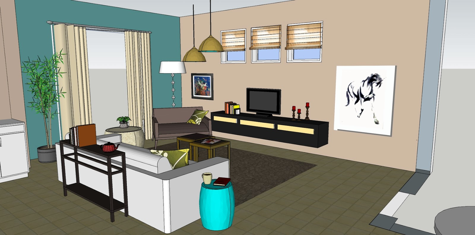 Eclectic Blue Living Room - with Boston Terriers title=