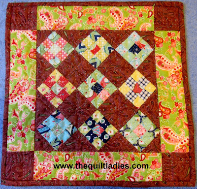 Nine-patch quilted table topper tutorial
