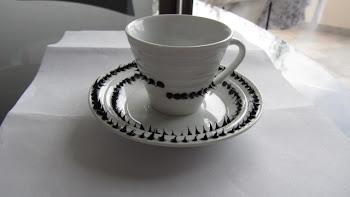 SET DI 6 Tazzine decorate con silicone nero lavabili a mano o in lavastoviglie