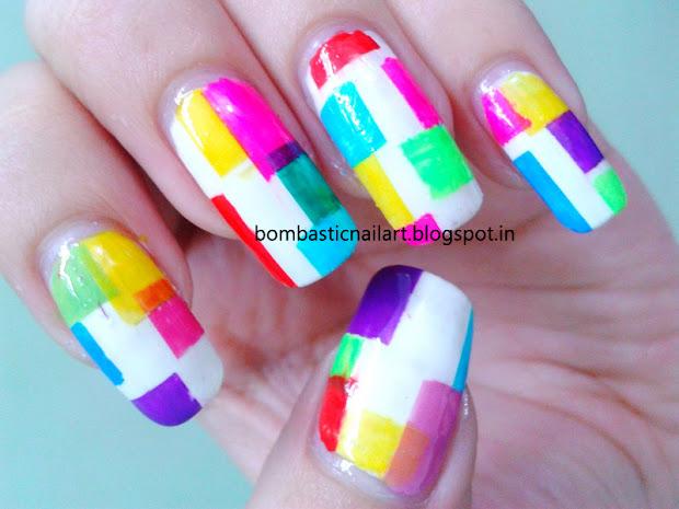 digital nail art with striping