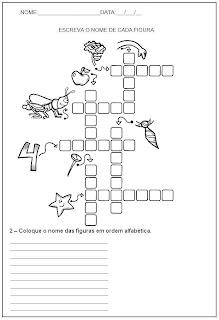 Hipótese de escrita alfabética - Alfabetização - Escreva o nome das figuras e coloque em ordem alfabética