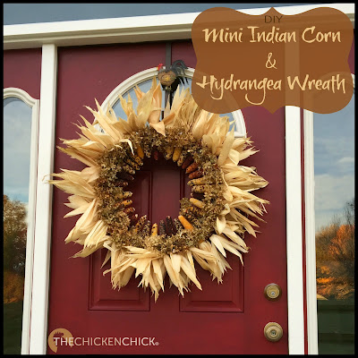 Mini corn ears, a straw wreath base and dried hydrangeas make a striking statement piece for the front door or inside the house and the the best part is that it's easy to create!