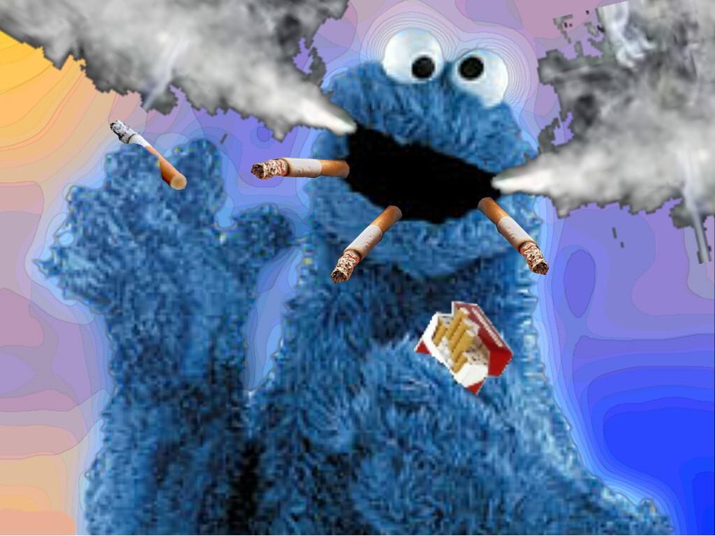 Cookie monster smoking weed