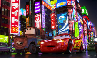 Lighning McQueen in Tokyo in Cars 2 animatedfilmreviews.blogspot.com