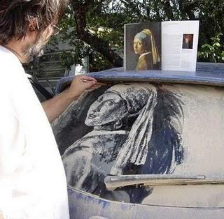 pilglass031 Lukisan pada Cermin Kereta Berdebu yang sangat UNIK!