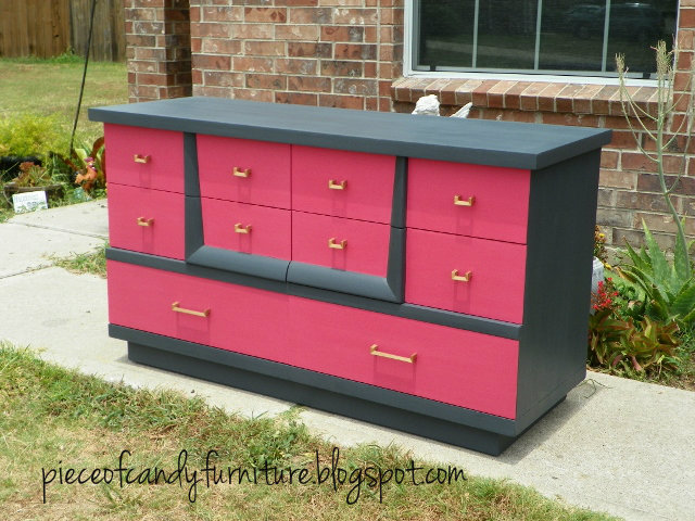 Charcoal Grey And Hot Pink Dresser