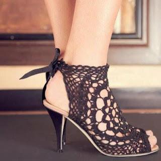 Zapatos tejidos a crochet para dama - Imagui