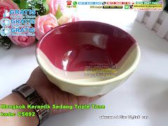 Mangkok Keramik Sedang Triple Tone