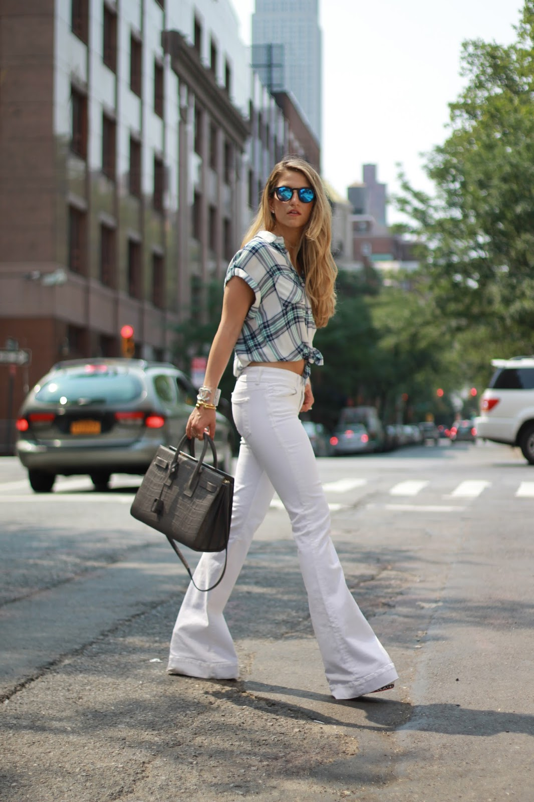 dressed for dreams in white wide leg pants, rails plaid shirt