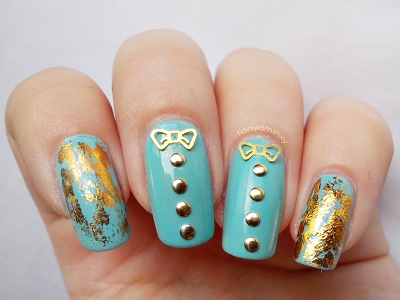 Mint & Gold Nails Born Pretty Store Round Studs Bows Foil