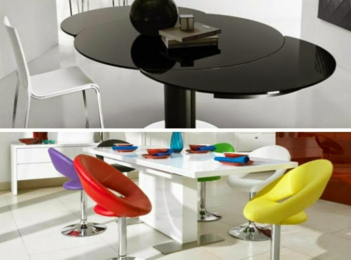 round extendable dining table in modern interior