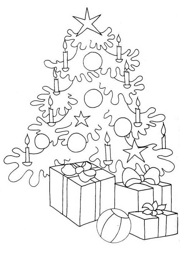 Ärbol navideño con regalos para colorear y pintar - Dibujo Views