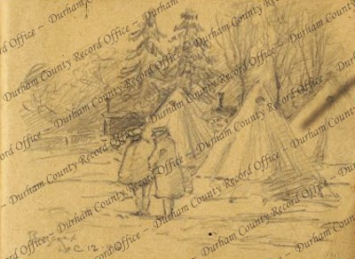 Pencil drawing of two British soldiers standing in the cold outside three bell tents, in camp at Bezeaux [Baizieux], France, 12 December 1916, drawn by Private Thomas McCree Scott, an artist from Sunderland (D/DLI 7/956/1(31))