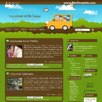 Vacation WIth Famz Blogger Template. blogger template for travel blog