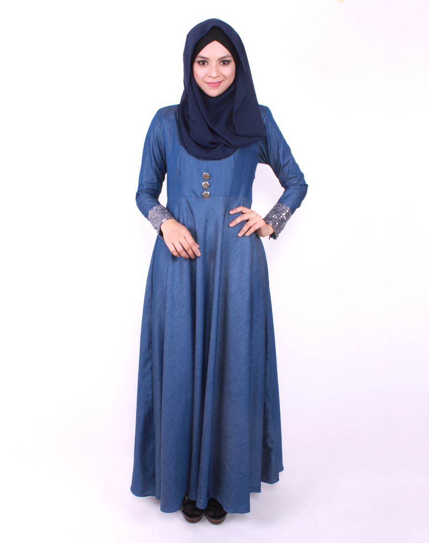 Maxi dress denim malaysian