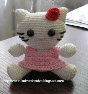 Вязаная крючком игрушка своими руками Хелло Китти (Hello Kitty)