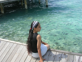 Hot Girl Watching amazing fishes in sea