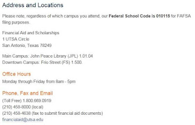 the information about UTSA financial aid office will be important for you