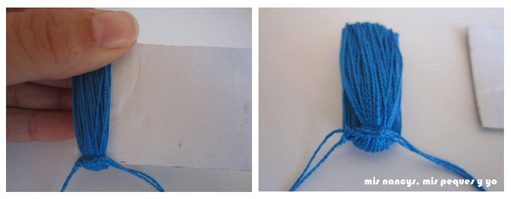 mis nancys, mis peques y yo, tutorial DIY borlas colores hacer nudo