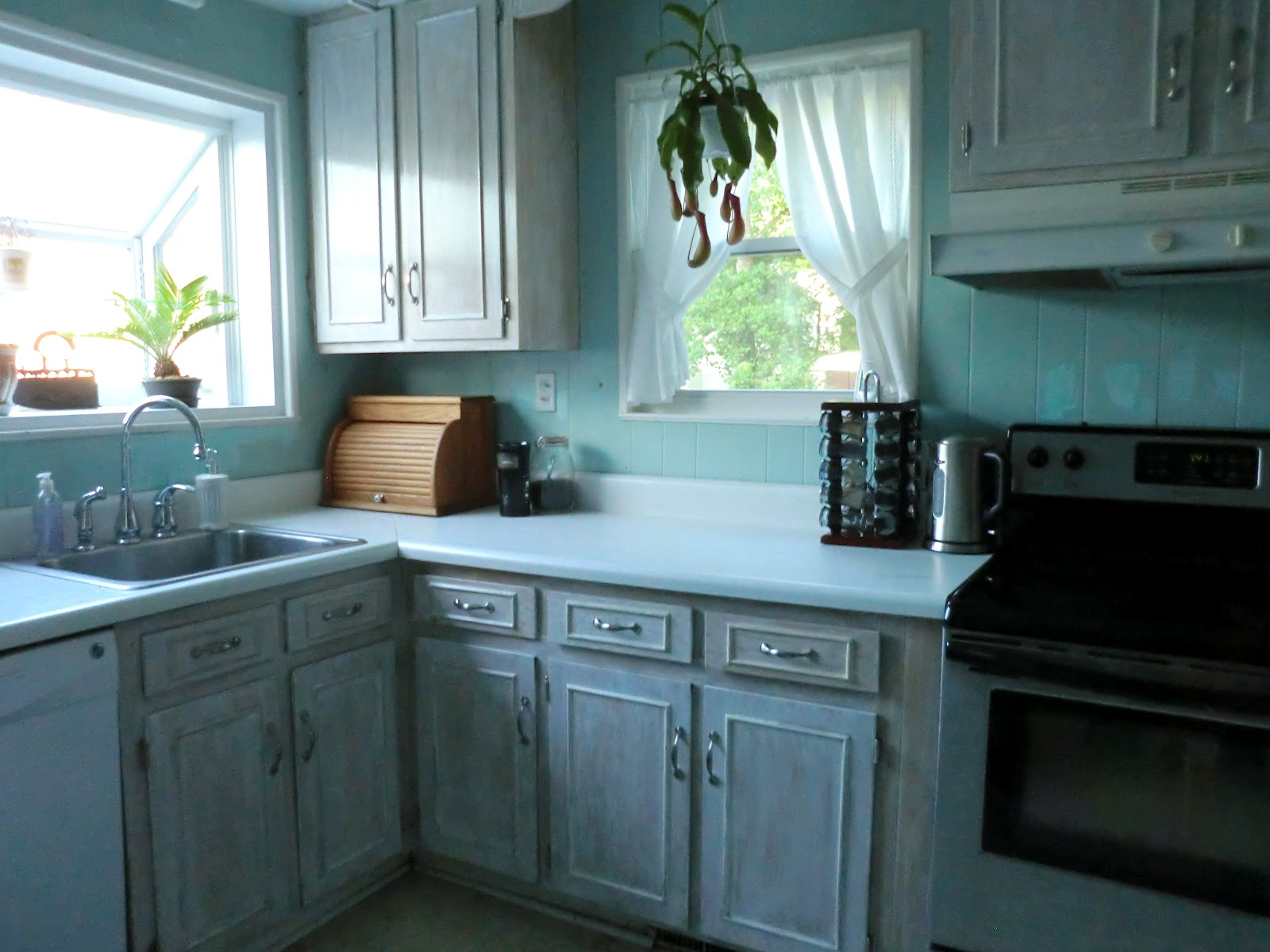 diy white washed cabinets