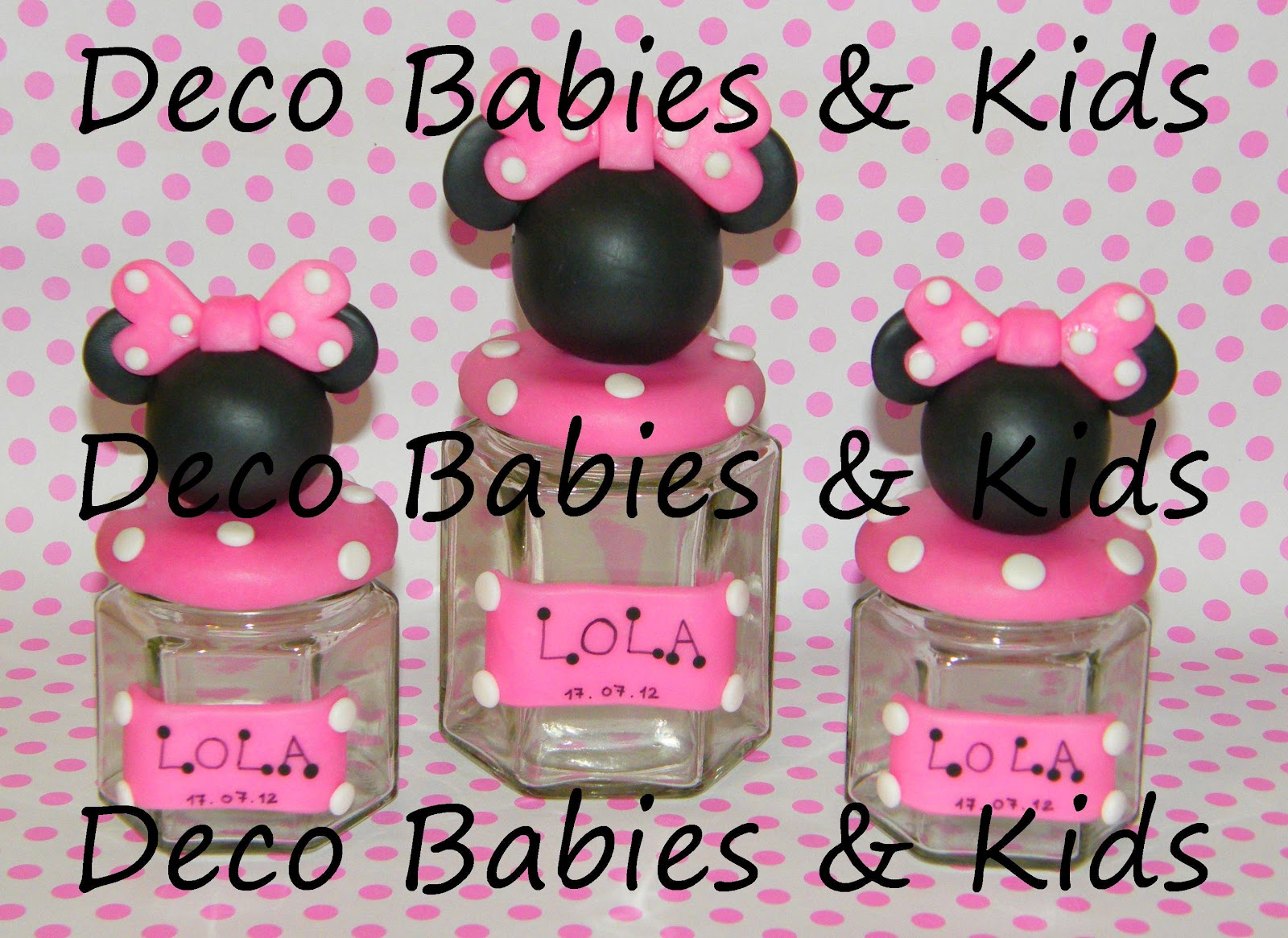 Decoracion Minnie Fucsia ~ Frascos hexagonales Silueta completa Mickey y Minnie
