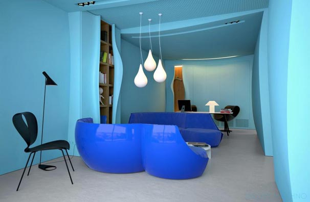 Blue Interior Decorating for Comfortable Modern Office Design