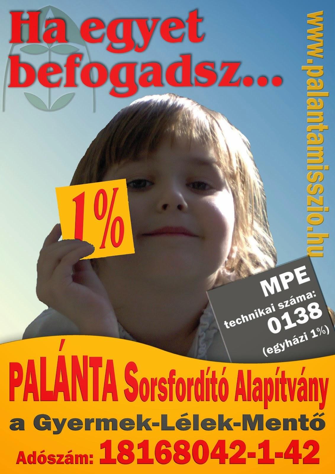 Támogassa 1%-ával a Palánta Gyermek-Lélek-Mentő munkáját! Támogatását köszönjük! :)