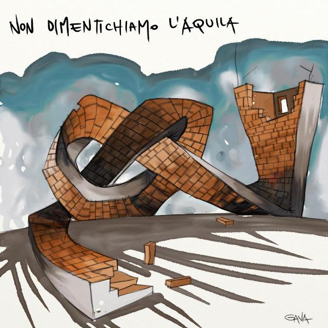 l'aquila Gavavenezia gava venezia satira vignette ridere piangere pensare disegno illustrazione caricatura nodo dimenticare memoria