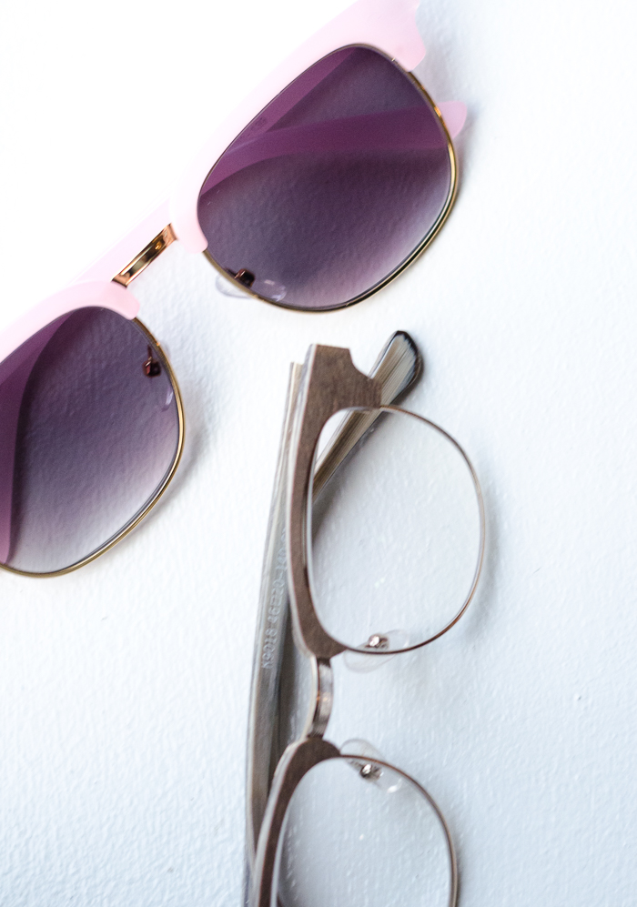 Pink Sunglasses and Wooden Eyeglasses