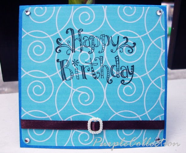 Square Birthday Cards, pattern, blue, spiral