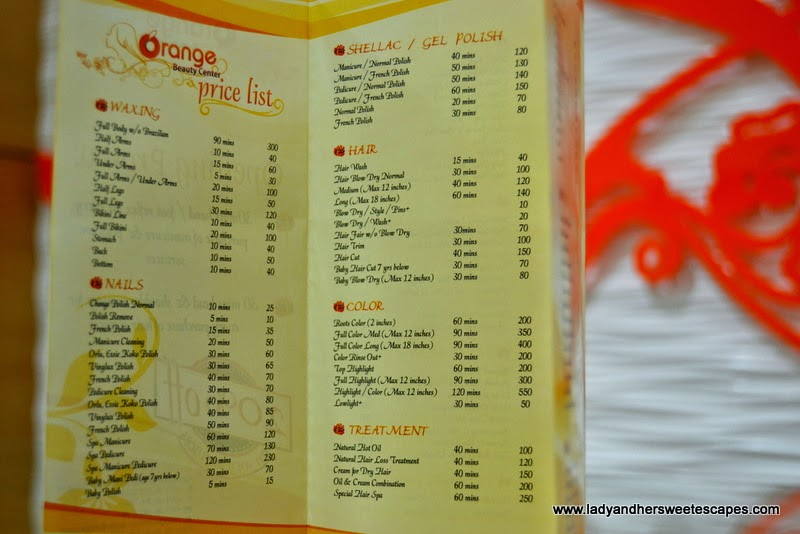 Orange Beauty Center's price list