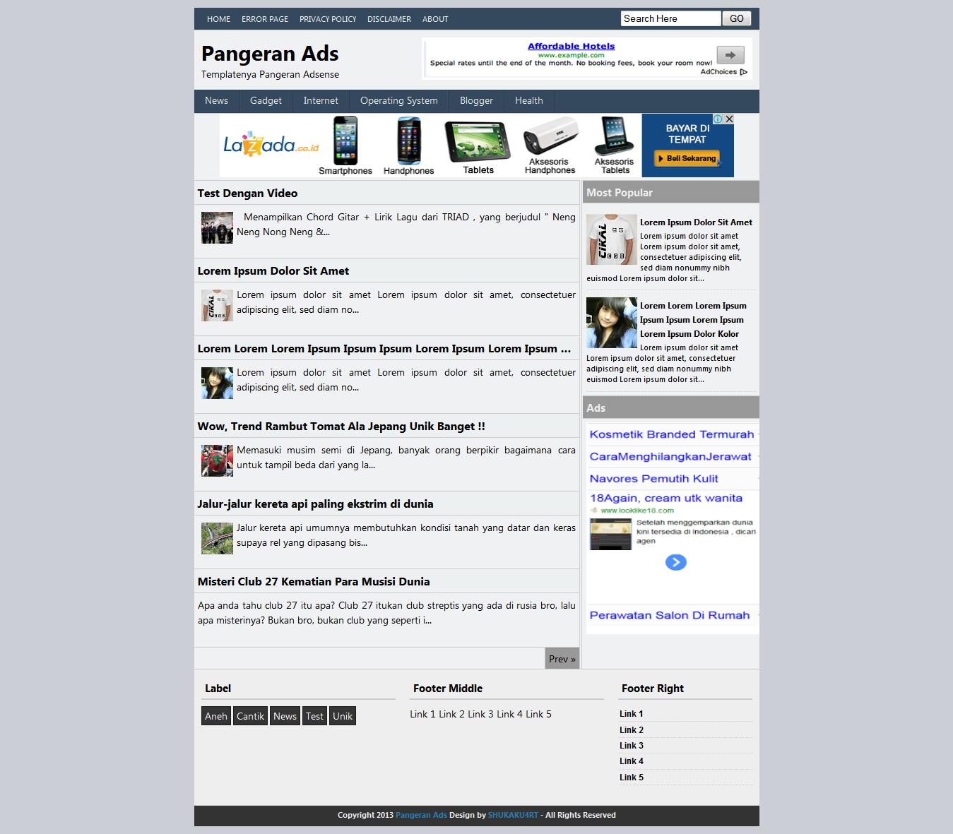 Pangeran Adsense Blogger Template - 2 Kolom