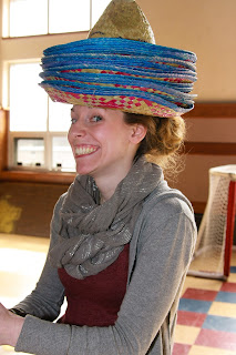 Caps for Sale!  Poor me, this is how I had to carry all the first graders' sombreros.