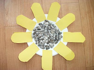 Sunflower Seeds Paper Plate Flower Craft Preschool Crafts For Kids