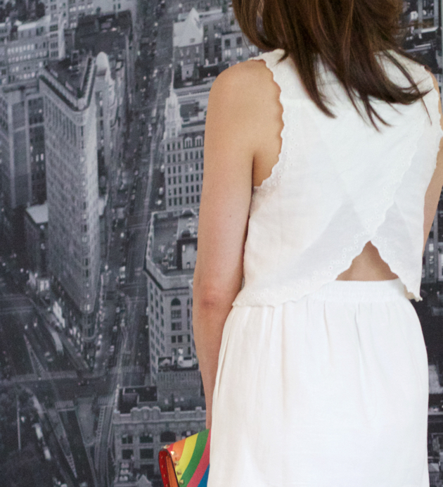 open back eyelet white dress