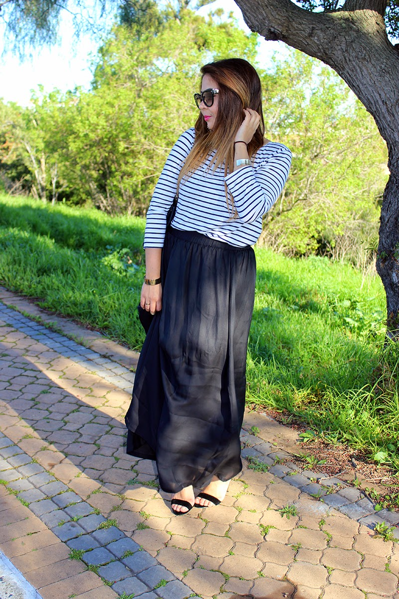 maxi skirt ootd, breton top, stripes and skirt, ankle strap heels, prada cat eye sunglasses, cape town fashion blogger, mac impassioned lipstick