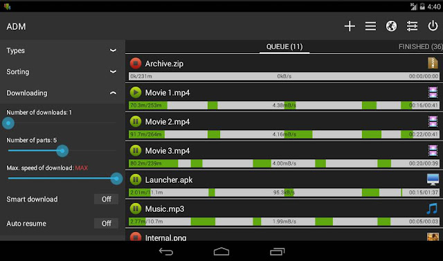 Aplikasi sownload manager untuk android - Advanced download manager